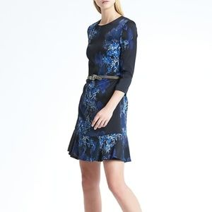 BR Floral Fit-and-Flare 3/4 Sleeve Dress